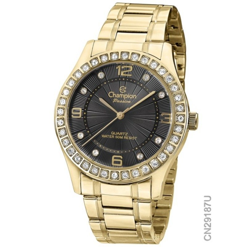 (CLICK PHOTO TO BUY NOW ONLINE) - CHAMPION CN29187U Passion Women's Watch Black Dial With Gold-Tone Stainless Steel Band, Case Gold-Tone Stainless Steel Case Back Stainless Steel Bezel...