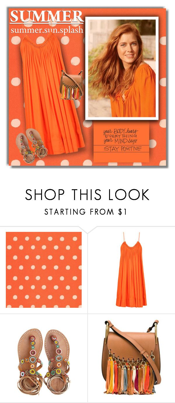 """""""Orange Dress"""" by justjules2332 ❤ liked on Polyvore featuring RIFLE, STELLA McCARTNEY, Laidback London and Chloé"""