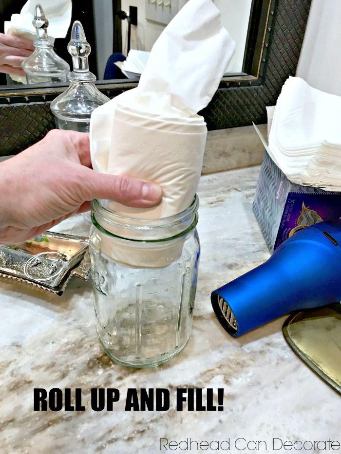 5 Minute DIY Mason Jar Bathroom Tissue Dispenser