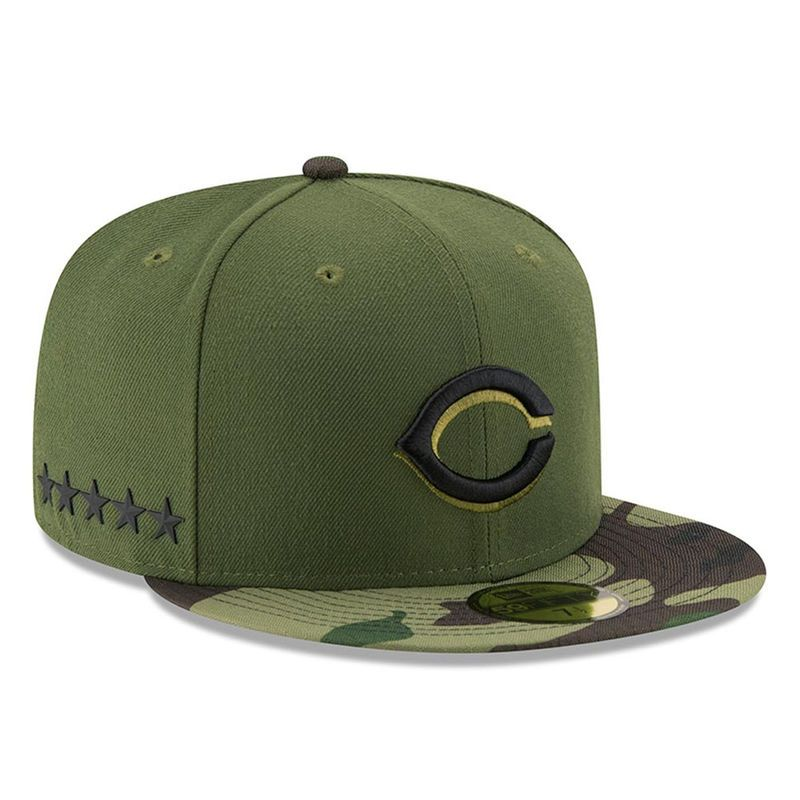 Cincinnati Reds New Era 2017 Memorial Day 59FIFTY Fitted Hat - Green ... 2e0783efeb3