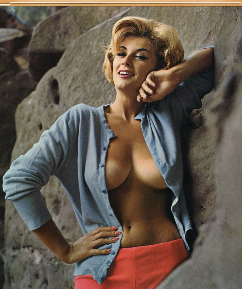 vintage 1960s erotic technicolor pin up print busty blonde babe is