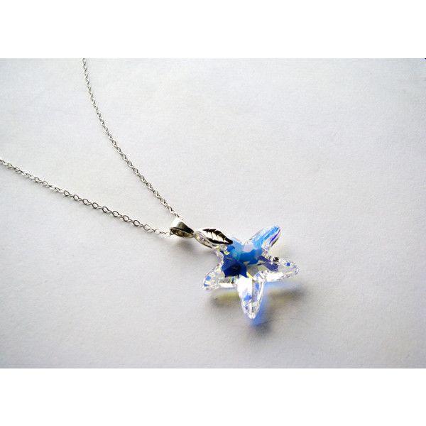 Large swarovski crystal ab starfish pendant necklace sterling large swarovski crystal ab starfish pendant necklace sterling silver 33 mozeypictures Gallery