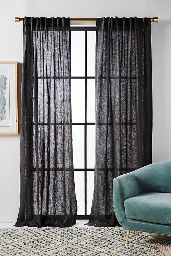 Stitched Linen Curtain In 2020 Linen Curtains Grey Linen Curtains Black And Grey Curtains #teal #and #gray #curtains #living #room