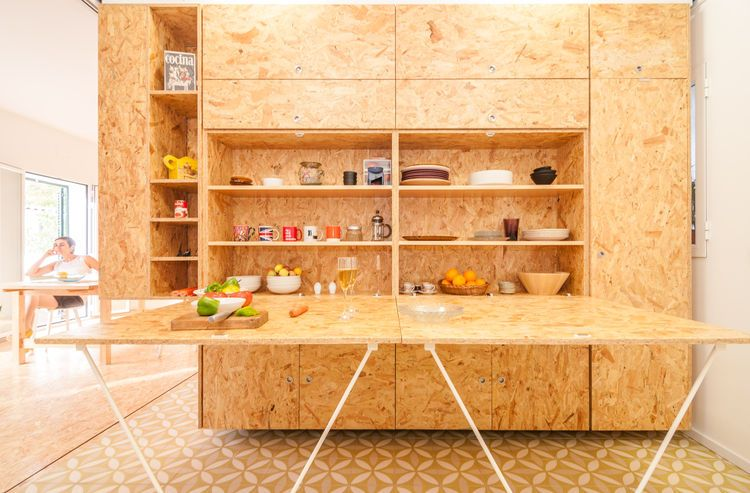 Small modular kitchen with particleboard countertop Studio ID