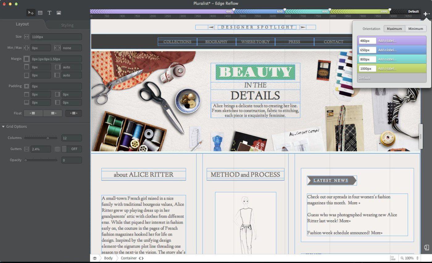 Adobe Adds Responsive Design Tool Edge Reflow To Creative Cloud Updates Dreamweaver Edge Code And Animate Web Design Tools Web Design Marketing Web Design