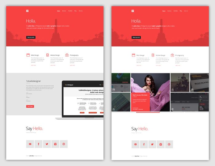 Flat Web Design Tutorial Portfolio Landing Page | Web Devs/Ops ...