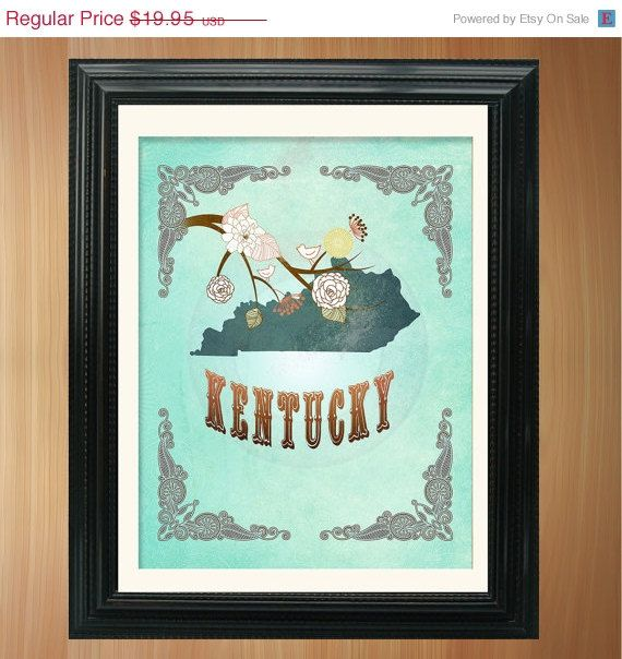 ON SALE Kentucky State Map Art  8.5X11 Ornate by LegacyHouseArt, $14.95