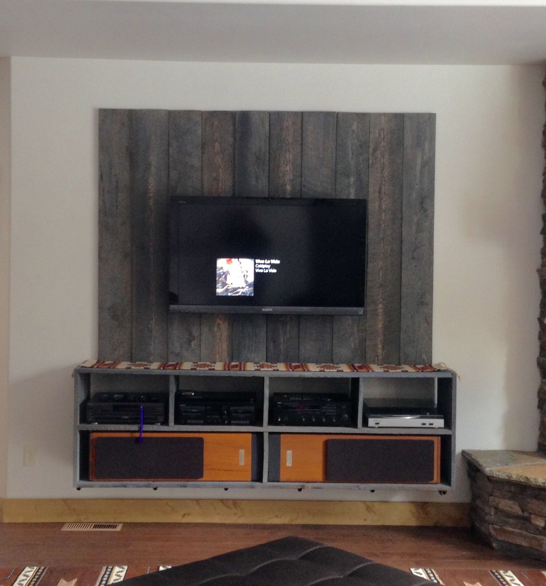 Floating Industrial Barnwood Entertainment Center Diy Entertainment Center Diy Entertainment Wall Entertainment Center