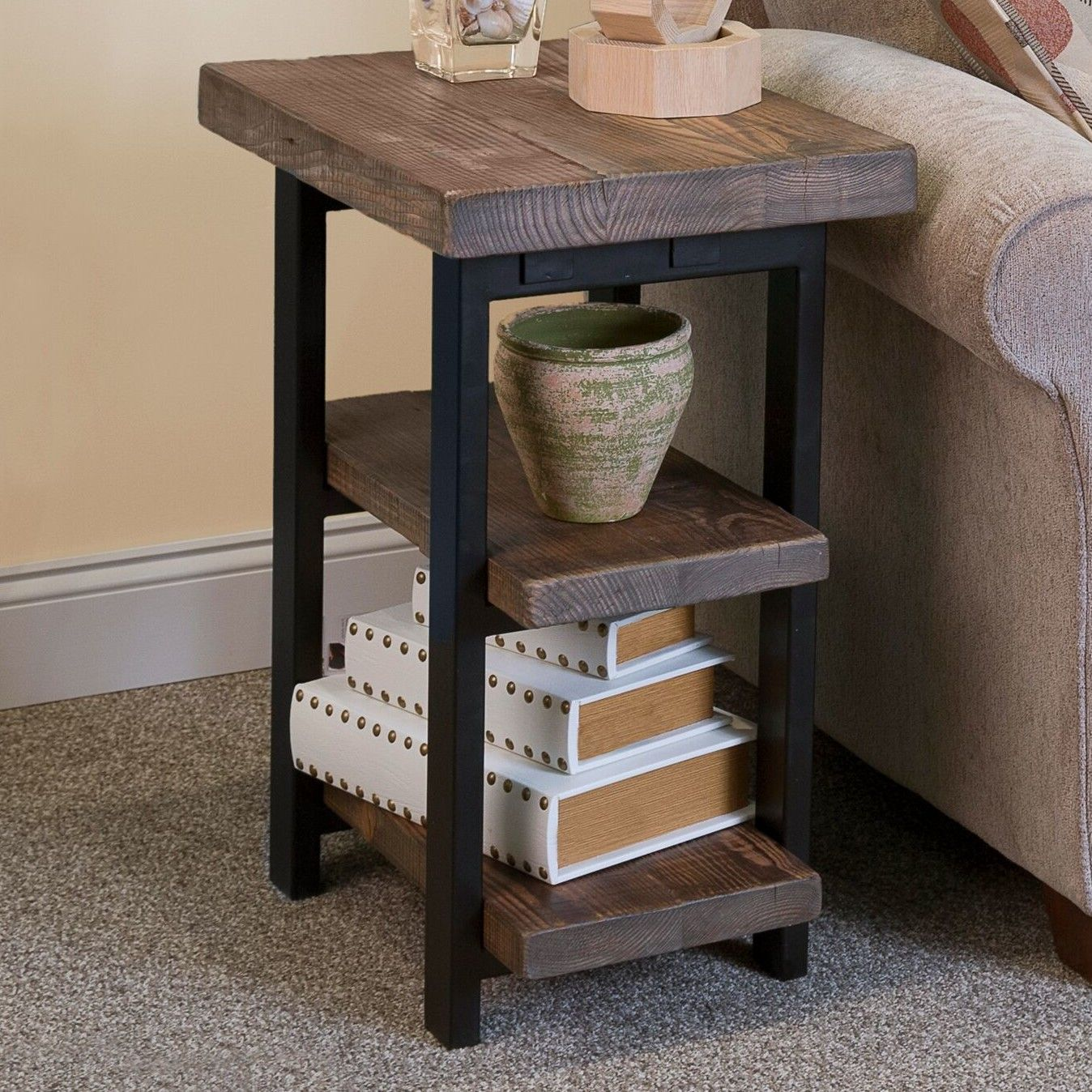 Solid Wood Tops With Metal Legs That Will Last For Years To Come Rustic Natural Finish Provides A Warm Yet Elegant Home Feeling End Table Two