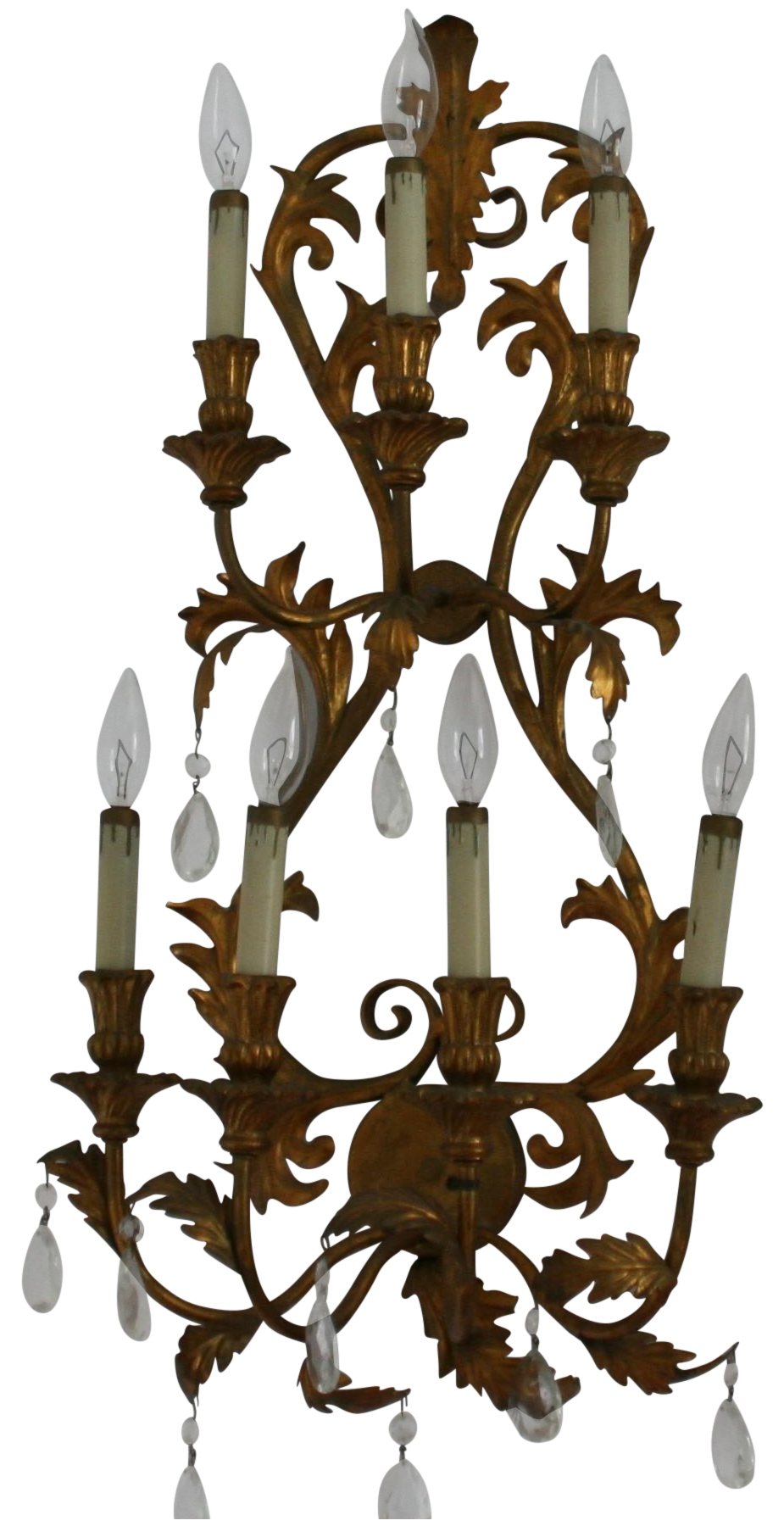Antique italian tole gilt 7 arm electric wall sconce with crystal 7 lights on two tiers with original gold drip candle holders amipublicfo Gallery