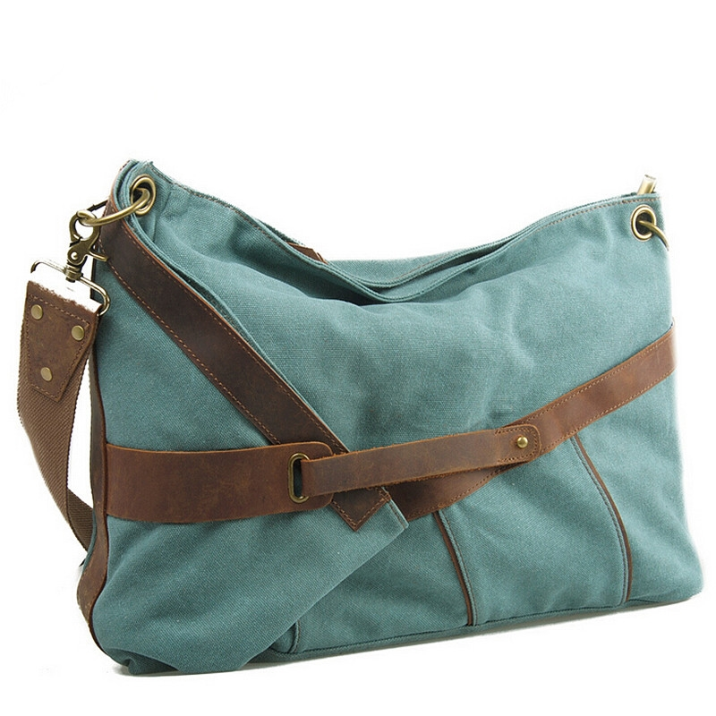 99.37$  Watch now - http://alipyn.worldwells.pw/go.php?t=32757641067 - DAWABO BrandWomen Canvas With Crazy Horse Leather Handbags New Fashion Large Capacity Messenger Bag Female Brand  Shoulder Bags  99.37$