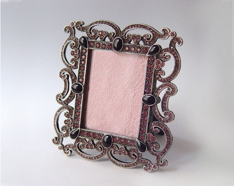 Violet Purple Scrolls Ornate Swarovski Crystals French Picture Frame