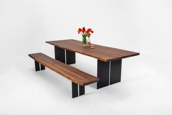 Bauhaus Dining Table And Bench Set Made From Walnut And Iron Handmade Custom Wood Dining Table F Table Bench Set Dining Table Walnut Dining Table