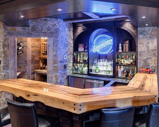 Traditional Home Bar Counter With Natural Wooden Countertop Also Modern Bar  Cabinet For Liquor And
