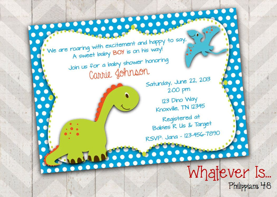 Dinosaur Baby Shower Invitation by WhateverIs on Etsy | Birthday ...