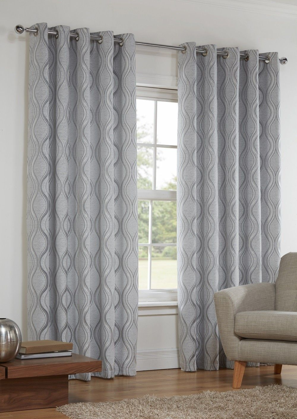 Sienna Silver Lined Eyelet Curtains | Kitchen/ Dinning room ...