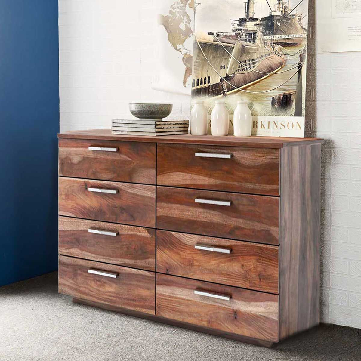 Hampshire Solid Wood Modern Rustic 8 Drawer Double Dresser Offers A Unique Style To Any Bedroom Setting This And Is Crafted