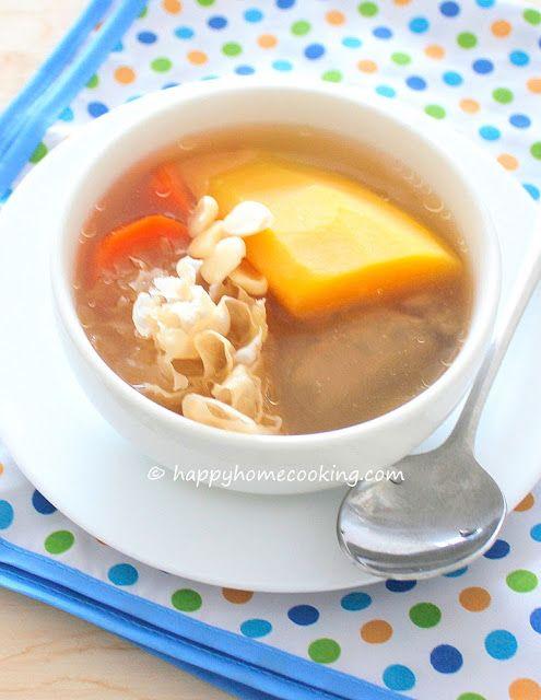 開心入廚 Happy Home Cooking: 木瓜雪耳豬骨湯 ~ 清甜好味,清熱潤肺