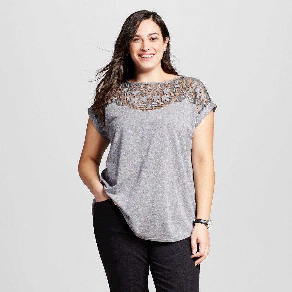 d6eec3b9c5f Women s Plus Size Burnout Tee Heather Gray 2X - Ava   Viv