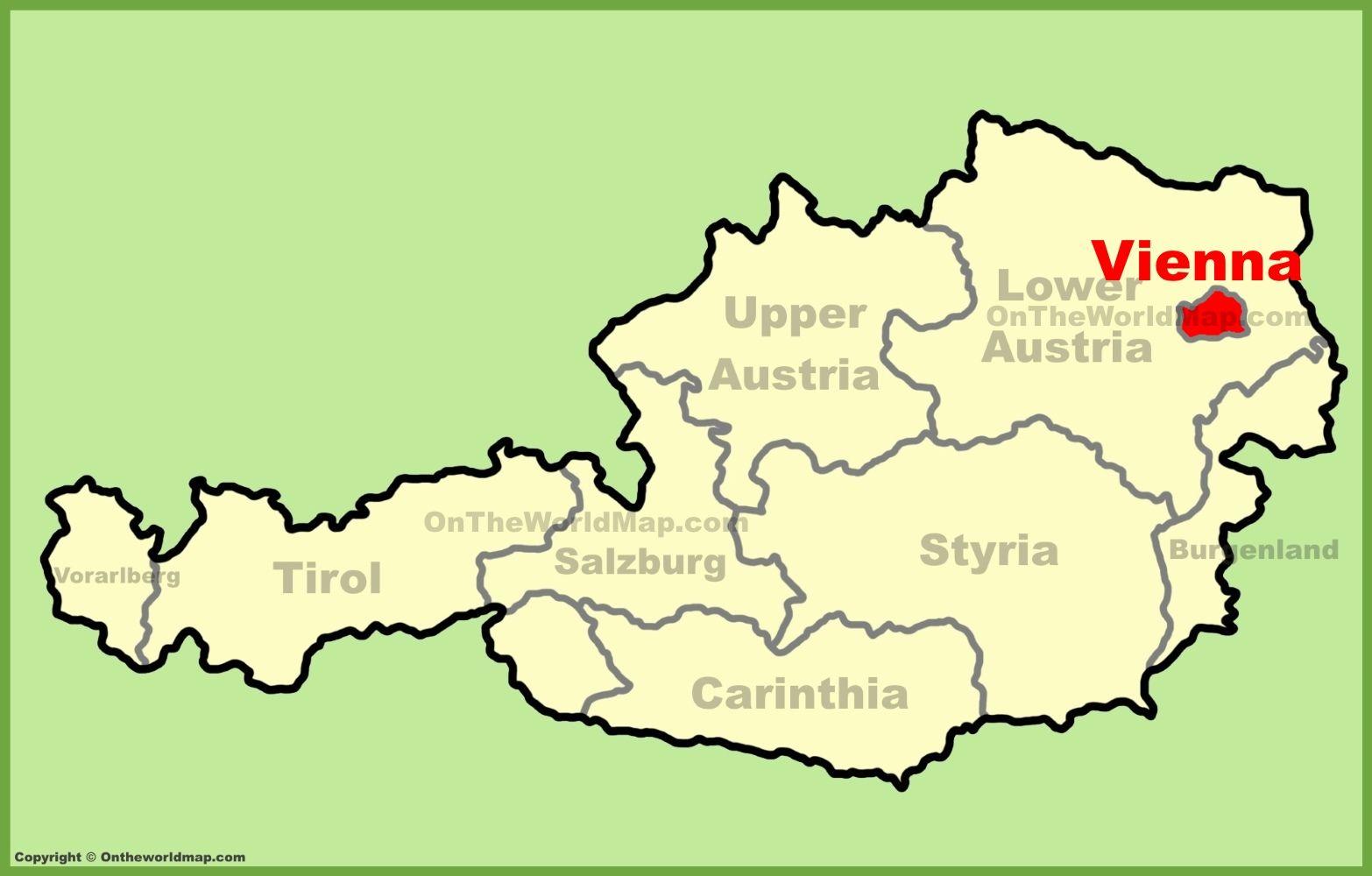 Vienna location on the Austria Map Pinterest Vienna