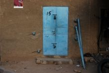 Bright blue details in Niger. Travel. Africa. Doors of the world.