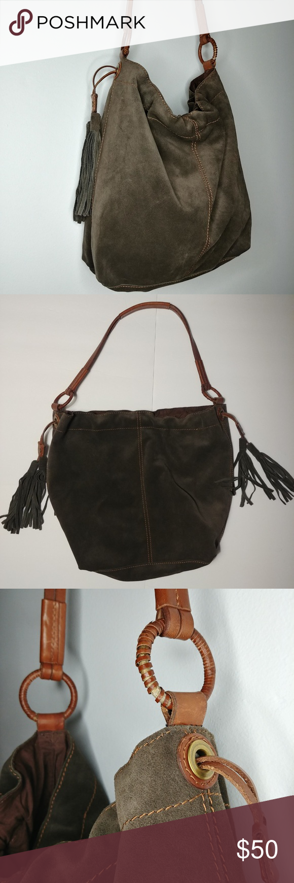 Lucky Brand Large Olive Suede Hobo Bag w  Fringe Fabulous vintage-inspired hobo  bag by Lucky Brand! -Brown-tinted olive green (lovely neutral shade) ... b8d5004272