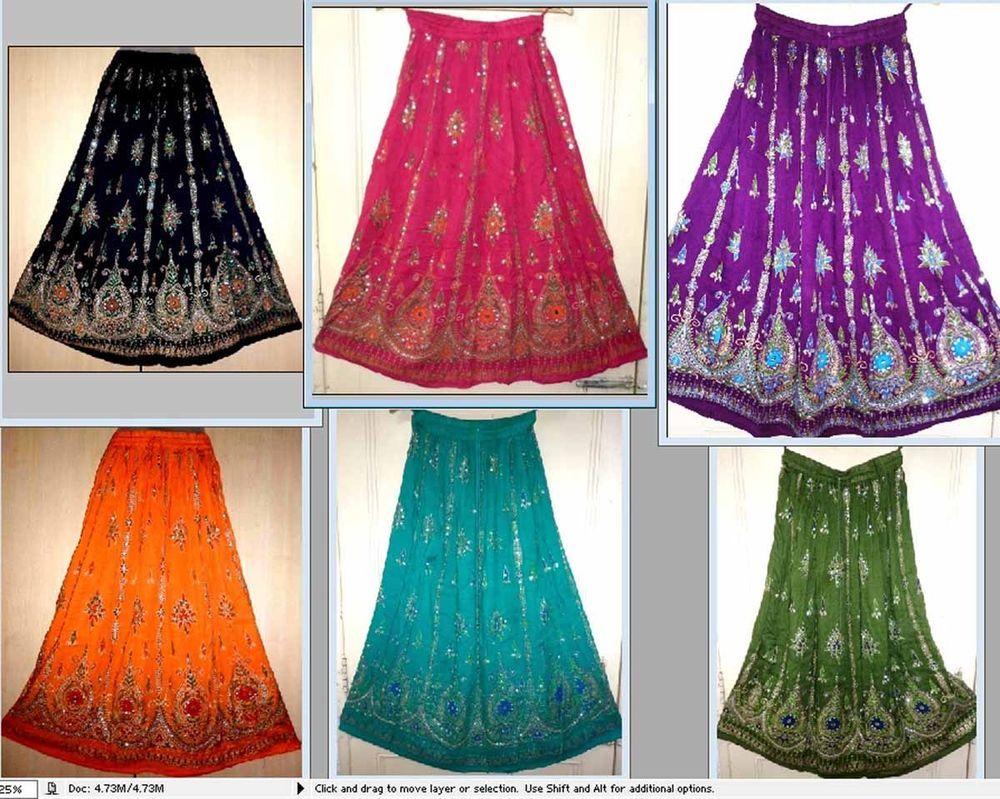 LOT-6PC@GBP69-RAYON CRINKLE Indian skirt kjol jupe Rock hippy  falda women ehs