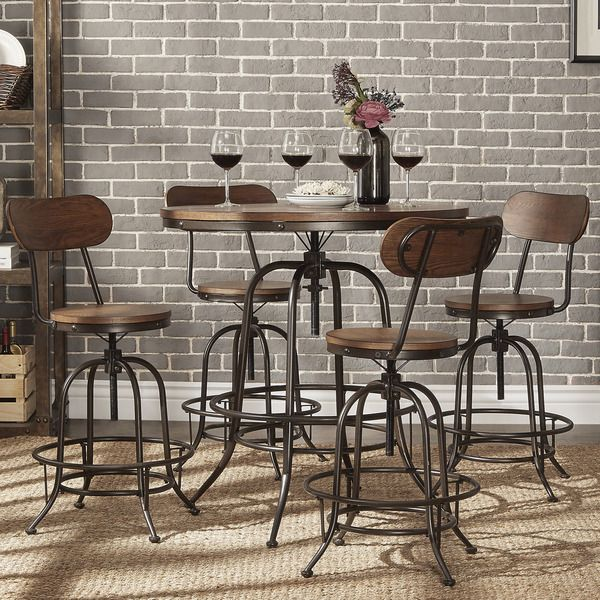 berwick industrial style round counter height pub adjustable dining set like pub table. Black Bedroom Furniture Sets. Home Design Ideas