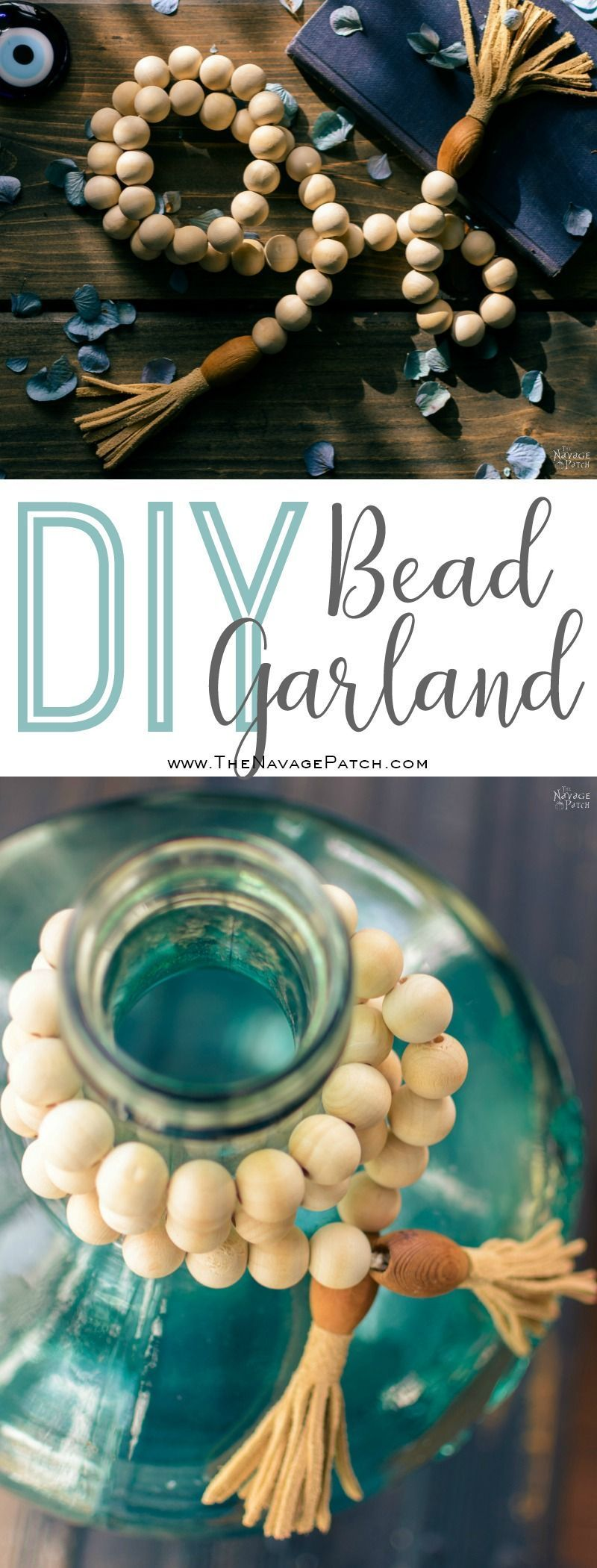 DIY Wood Bead Garland | How to make a wood bead garland in 5 minutes ...