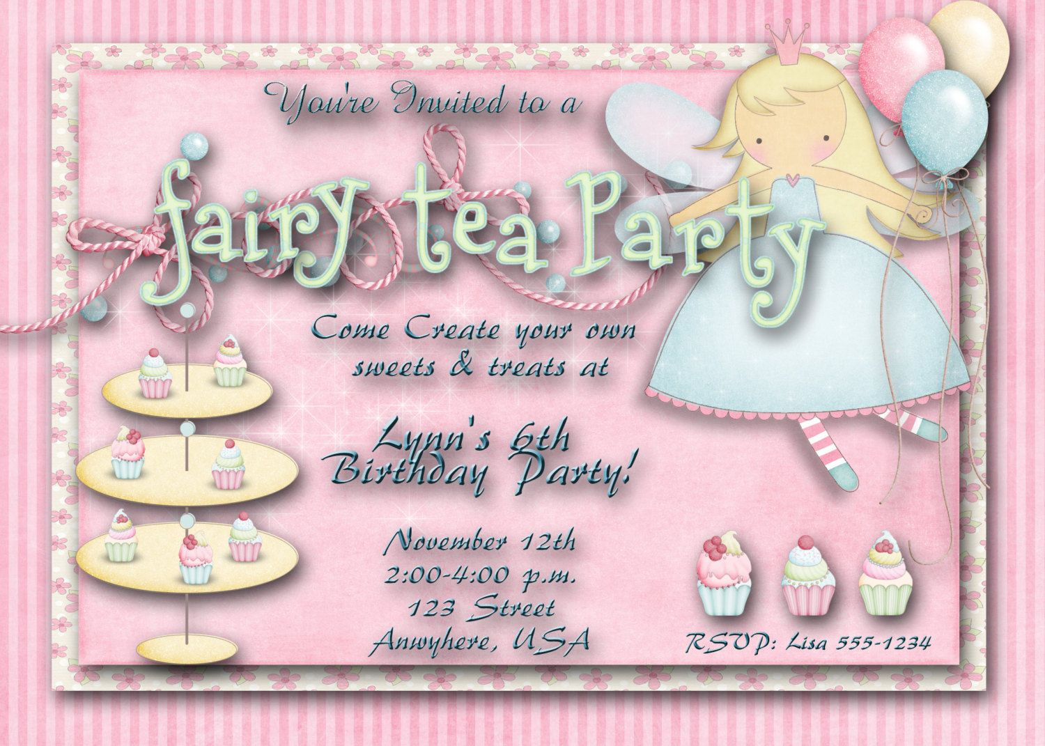 Fairy Tea Party Birthday Party Invitation ONEOFAKIND – Fairy Tea Party Invitations