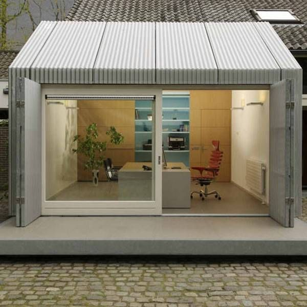 Bright Garage Redesign Idea Creating Modern Home Office with Sliding Glass  Doors