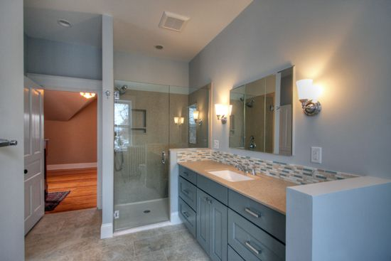 New master bathroom carved out of space in a home over 100 years old