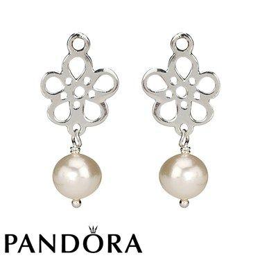 Pandora White Pearl Drop Flower Earring Charms 80534