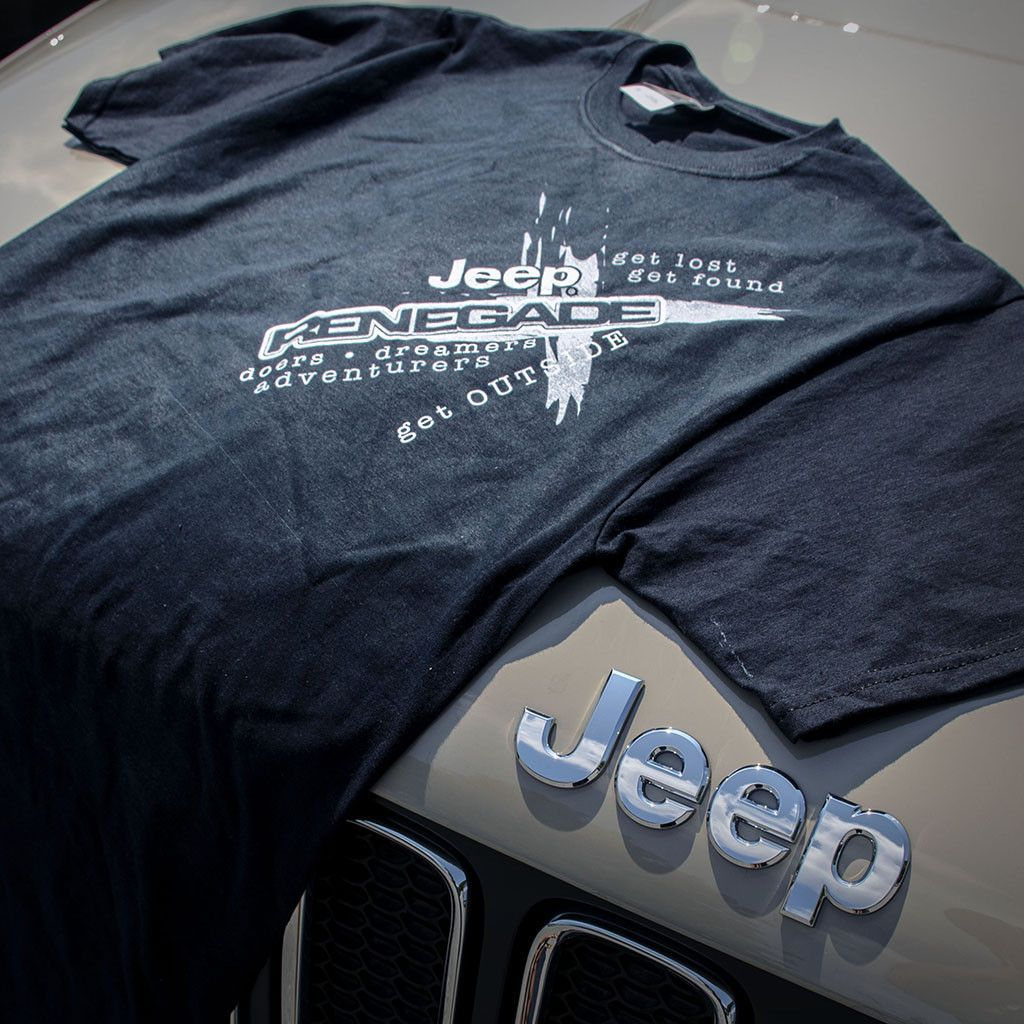 This Jeep T Shirt Is 100 Preshrunk Cotton Short Sleeve And Features A Jeep Renegade Logo And Text That Says Get Lost Get Jeep Clothing Jeep Jeep Renegade
