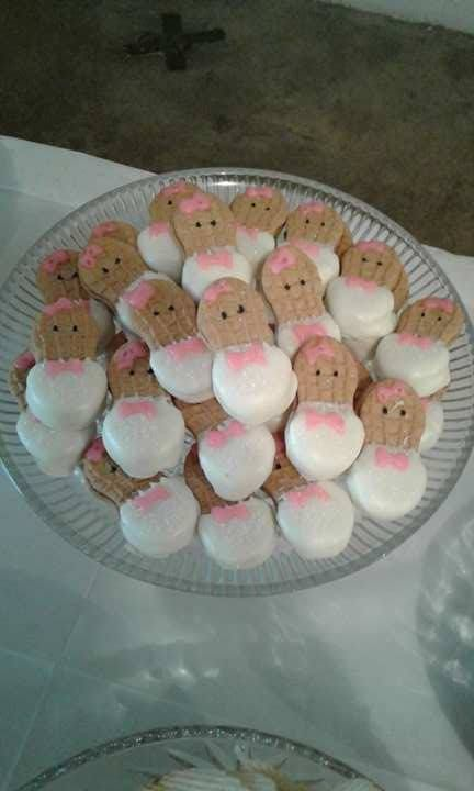 Nutter Butter Babies With Pink Bows For Baby Shower Baby Shower