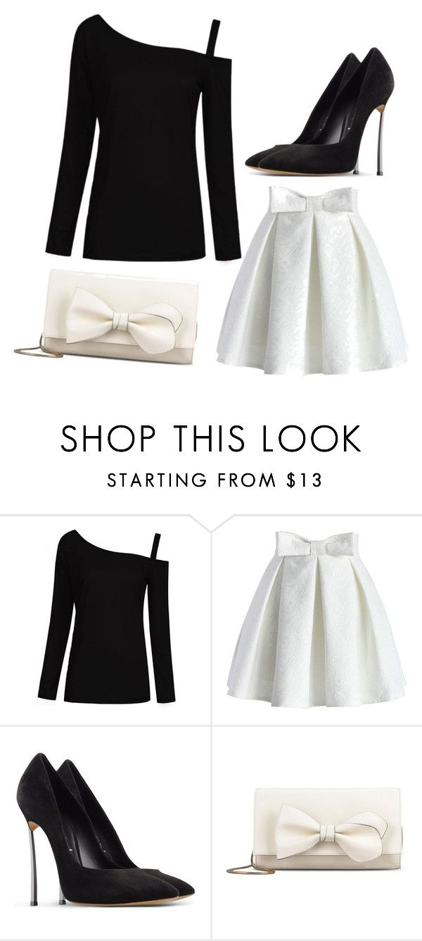 """Black &White Night"" by lbaker-ct on Polyvore featuring Chicwish, Casadei and RED Valentino"