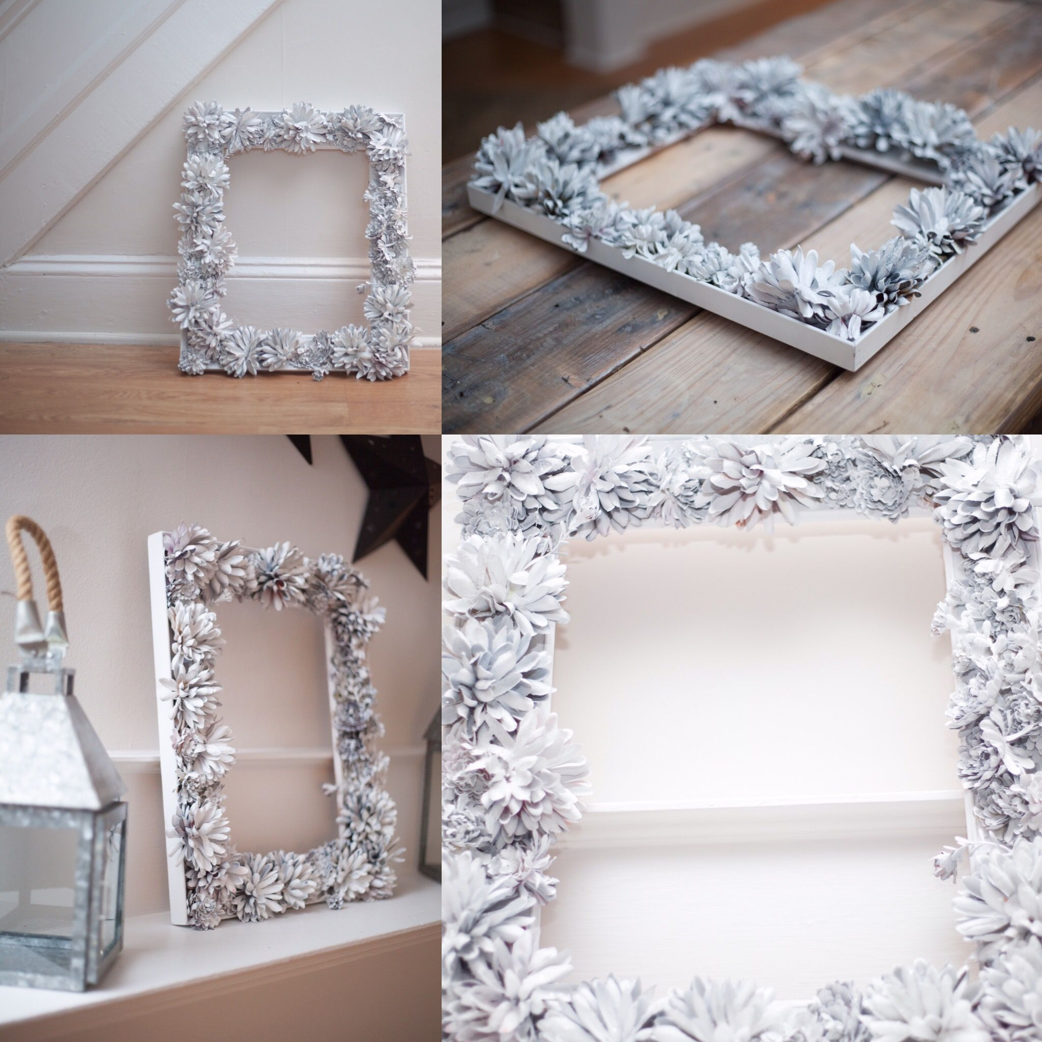 Little arts and crafts project.  Fake flowers, an old picture frame, glue and spray paint.