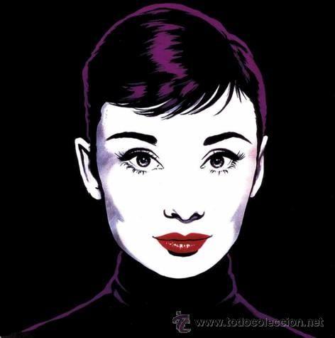 AUDREY HEPBURN negra POP ART de ANTONIO DE FELIPE. Cuadro de 60x 60 ...