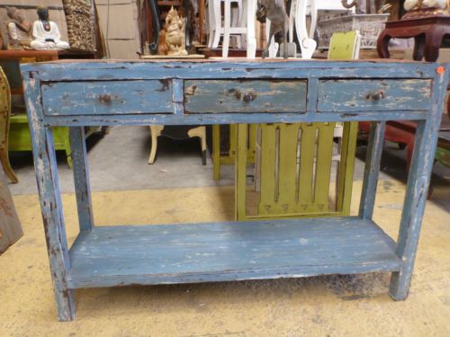 long hall table. Balinese Furniture Timber Console Sideboard Long Hall Table Blue Rustic Finish E