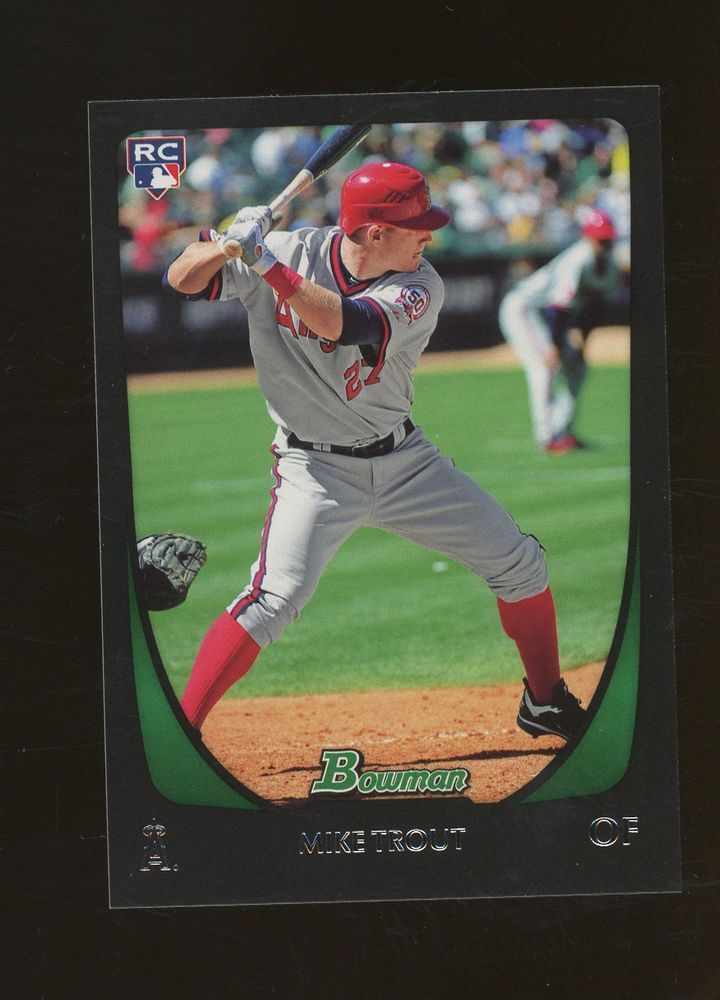 2011 bowman baseball 108 mike trout rc rookie anaheim