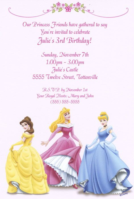 Disney Princess Birthday Invitation free to download and edit – Princess Party Invitation Ideas