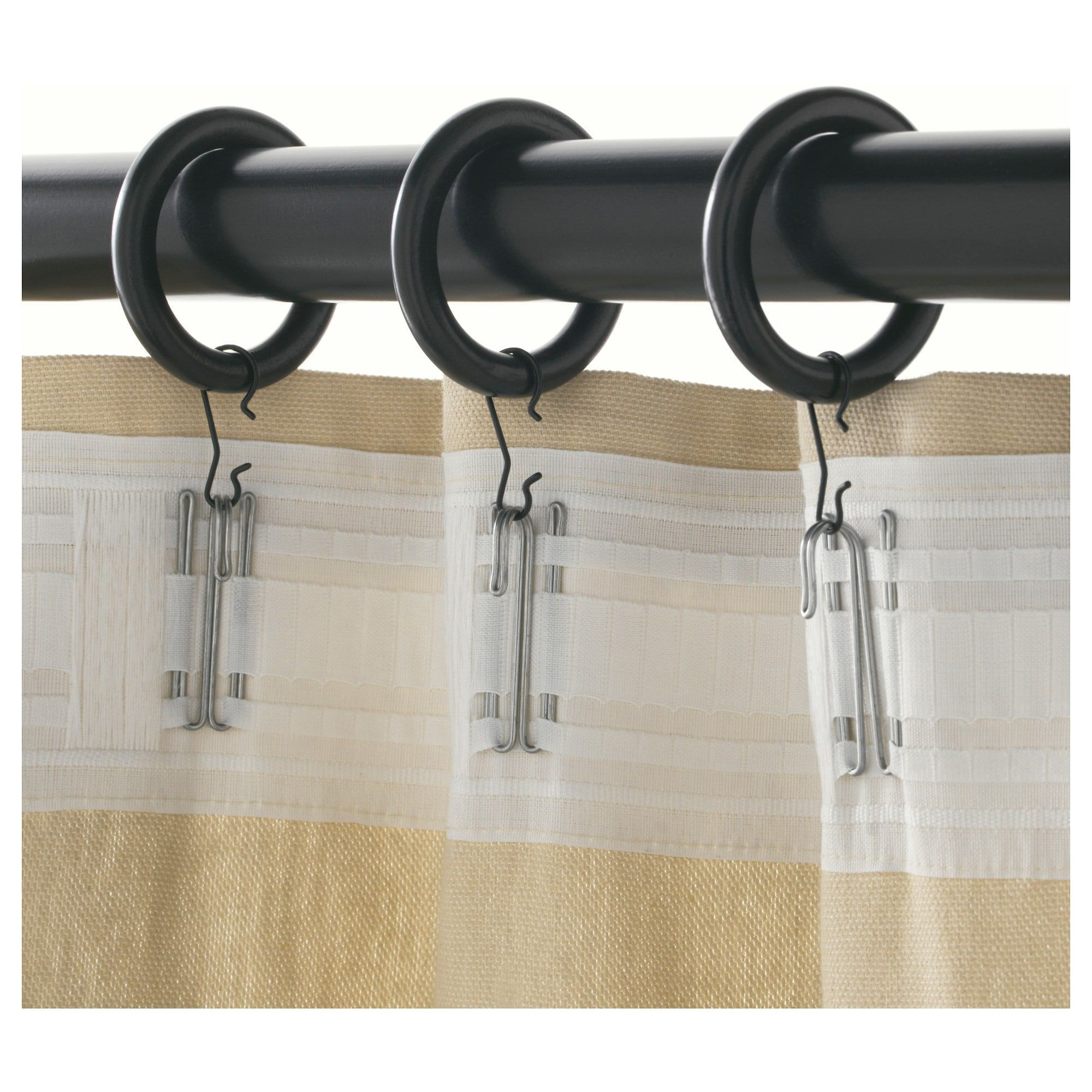 Ikea Portion Curtain Ring With Clip And Hook Black Stained Or Use Cheap Shower Curtain Rings Curtains With Rings Curtain Rings With Clips Ikea Curtain Rods