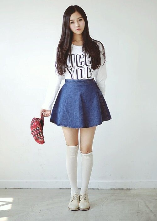 Asian girl in skirt