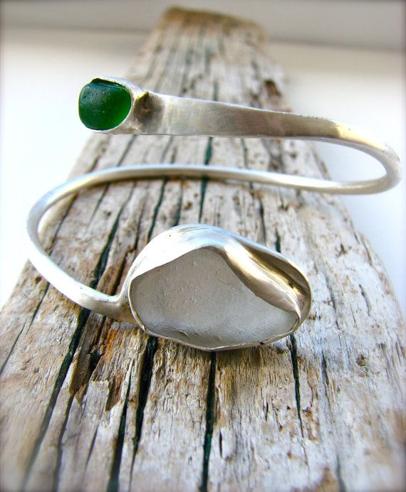 Kelly Green and White Sea Glass Sterling Silver Wrap Bangle Bracelet $130