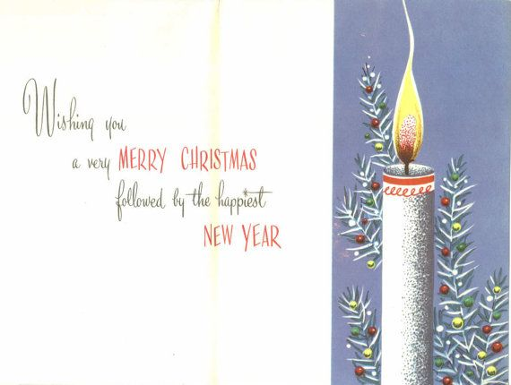 Vintage Christmas Card Glowing Candles by TheVintageGreeting, $4.95
