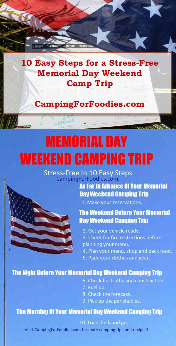 10 Easy Steps For A Stress Free Memorial Day Weekend Camping Trip Weekend Camping Trip Memorial Day Camping Trips