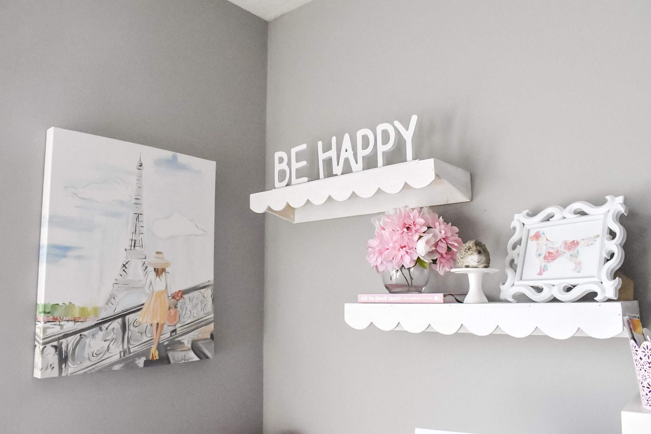 Gray and Pink Baby Girl Nursery Shelves Love You To The  Pink And Grey Bookcase
