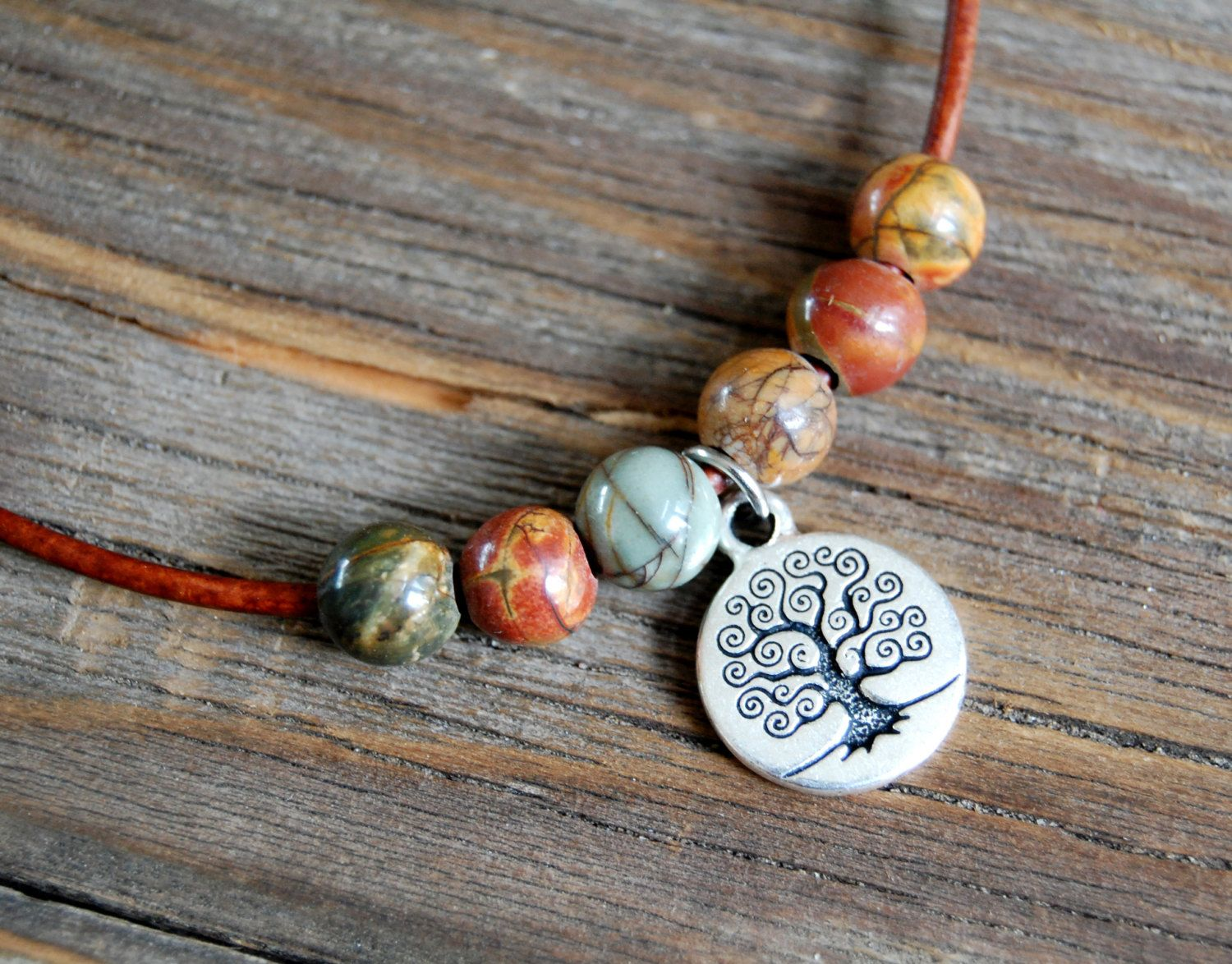 Leather Tree of Life Necklace - Red Creek Jasper - Tree of Life Charm - Gemstone Necklace - Reddish Brown Leather - Tree of Life Jewelry by BoulderBeads on Etsy