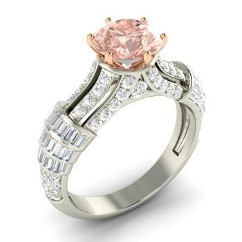 Round 14k White Gold Morganite Sidestone Ring with SI Diamond,VS Diamond
