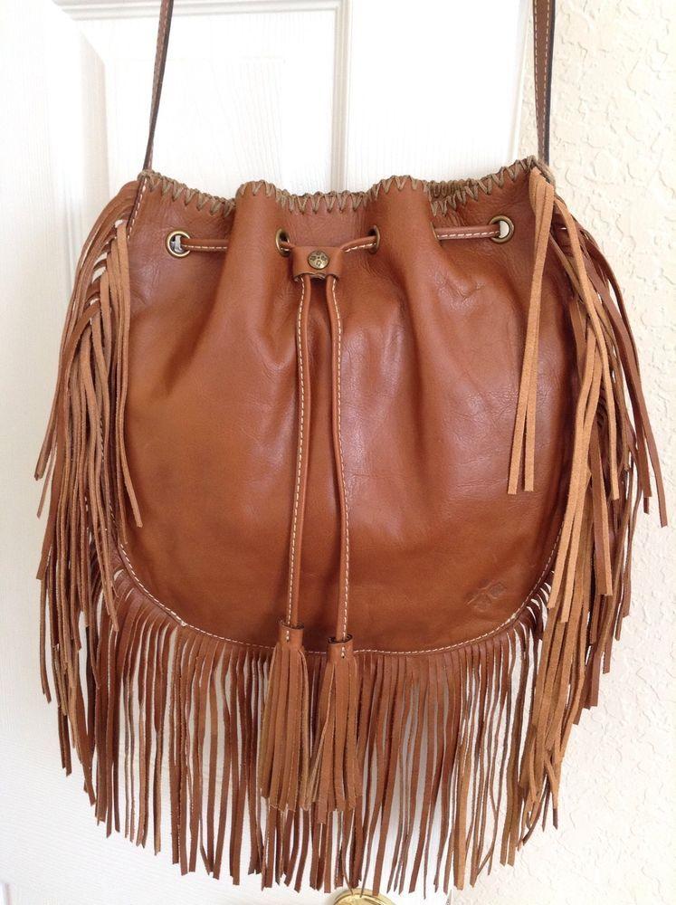 Patricia Nash Carrara Drawstring Fringe Hobo Bag Brown Tan 229 Nwt Ebay Leather